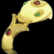 Stunning Vintage signed Ciner Dolphin Rhinestone Bracelet