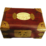 Vintage Mahogany Asian Jewelry Box