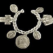 Vintage Religious Medals Sterling Bracelet