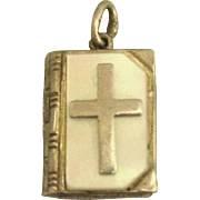 Vintage The Lord's Prayer Book Sterling MOP Charm