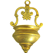 Vintage Cast Brass Holy Water Font