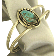 Vintage Navajo Sterling Turquoise Cuff Style Bracelet