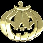 Charming Signed Sterling Carved Pumpkin Brooch