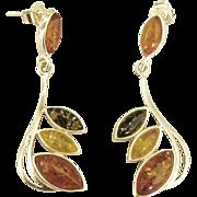 Sterling Triple Color Amber Dangle Style Pierced Earrings