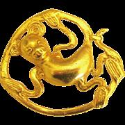 Charming Alva Studios Gold Plated Monkey Brooch