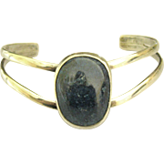 Bold Vintage Sodalite Cabochon Sterling Cuff Bracelet