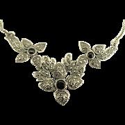 Beautiful Vintage Sterling Onyx Marcasite Triple Flower Necklace