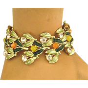 Lovely Enamel Rhinestone Bracelet with Leaves