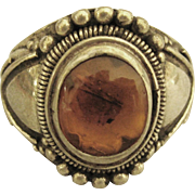 Handsome Vintage Chased Sterling Baltic Amber Ring- Size 10 1/4