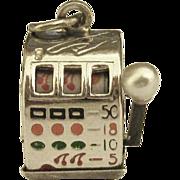 Vintage Sterling Mechanical Slot Machine Charm