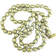 Beautiful Vintage Signed Miriam Haskell Faux Silver Gray Baroque Pearls
