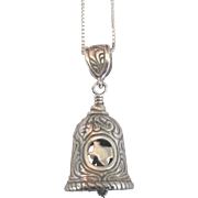 Ornate Sterling State of Texas Star Bell Pendant with Chain