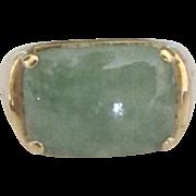 Sleek Vintage 14K Jade Ring- Size 9 1/2