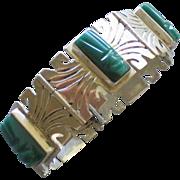 Vintage Signed FSS Sterling Green Onyx Aztec Mask Bracelet