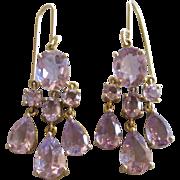 Sparkling Gold Over Sterling Amethyst Dangle Pierced Earrings