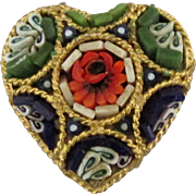 Vintage Italian Micro Mosaic Heart Pin