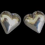 Large Sterling Puffy Heart Pierced Earrings