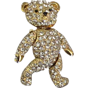 Adorable Vintage Mechanical Rhinestone Teddy Bear Brooch