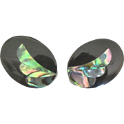 Lovely Vintage Inlaid Abalone Onyx Earrings