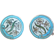 Vintage Enamel Sterling Island of Bermuda Earrings