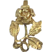 Lovely Vintage 14K Yellow Gold Rose with Leaves Pendant
