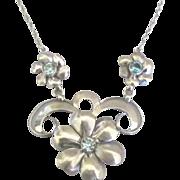 Feminine Vintage Signed BB Sterling Flower Necklace with Blue Topaz