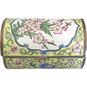 SALE PENDING Vintage Chinese Enamel on Copper Cherry Blossom Casket Style Box