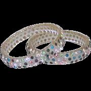 Vintage Multiple Color Rhinestone Lucite Set of 2 Bangle Bracelets