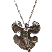 Vintage Sterling Female in Flowing Gown Pendant with Twisted Chain