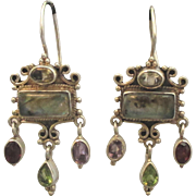SOLD Lovely Sterling Labradorite Garnet Peridot Amethyst Gemstone Pierced Earrings