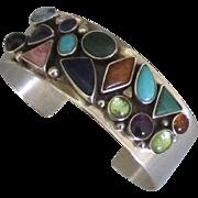 Beautiful Signed Sterling Gemstone Cuff Bracelet