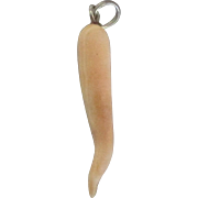 SOLD Vintage Carved Angel Skin Coral Italian Horn Pendant or Charm