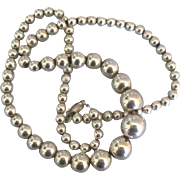 Lovely 18 Inch Graduated Sterling Bead Necklace