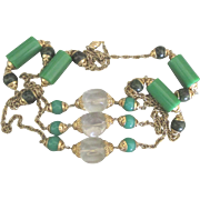 Fabulous Vintage Chunky Green and Clear Lucite Plastic Bead Sautoir Necklace- 64 Inches