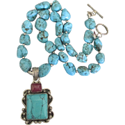 Stunning Sterling Turquoise and Natural Ruby Necklace with Halite Pendant