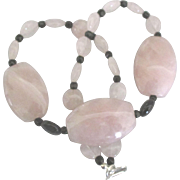 Stunning Chunky Pink Quartz with Black Glass Bead Necklace