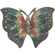 Stunning Enamel Sterling Butterfly Ring with Marcasite- Size 7 1/2