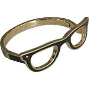 Signed Designer Enamel on Gold Tone Glasses Hinged Bracelet
