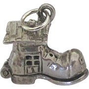 Vintage Sterling Mechanical Old Mother Hubbard Shoe Charm
