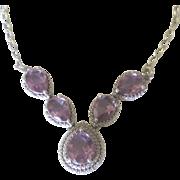 Vintage Sterling Faceted Amethyst Gemstone Necklace