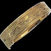 Lovely Vintage Signed Floral Gold Filled Hinged Bracelet with Chain
