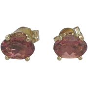 Lovely 14K Deep Pink Tourmaline 1/2 Ct Pierced Earrings
