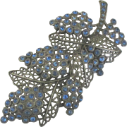 Large Signed Little Nemo Blue Paste Grapes and Leaves Brooch