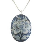 Large Blue and White Porcelain Pendant with Sterling Chain