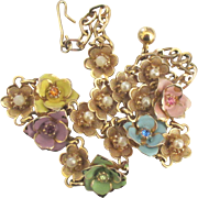 Feminine Vintage Enamel on Gold Tone Flowers with Rhinestones and Faux Pearls Necklace