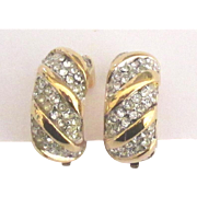 Signed Givenchy Chunky Sparkling Rhinestone Yello Gold Tone Earrings