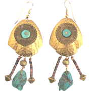 Gorgeous Vintage Brass Brutalist Style Pieced Earrings with Turquoise and Heishi