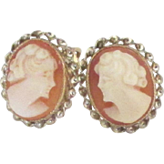 Vintage 10K Carved Shell Cameo Pierced Earrings with Threaded Posts