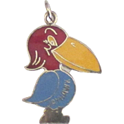 Vintage Sterling Enamel Jay Hawk Charm