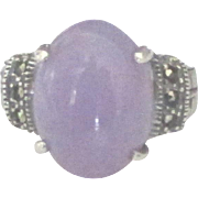 Beautiful Lavender Jade Sterling Marcasite Ring- Size 5 1/2